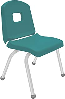 "product image for Creative Colors 1-Pack 14"" Kids Preschool Stackable Split Bucket Chair in Teal with Platinum Silver Frame and Ball Glide"