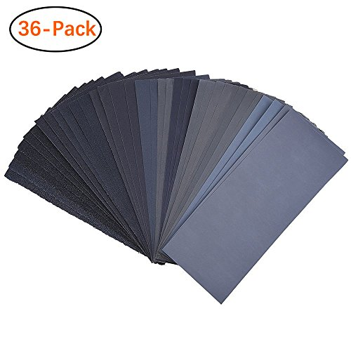(120 To 3000 Assorted Grit Sandpaper for Wood Furniture Finishing, Metal Sanding and Automotive Polishing, Dry or Wet Sanding, 9 x 3.6 Inch, 36-Sheet)