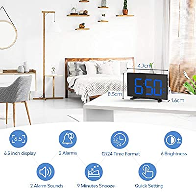 YISSVIC Digital Alarm Clock 6.5'' LED Dimmer Display Dual Alarm with Snooze Function 30 Minute Ring Time 12/24 Hour Backup Function for Bedroom