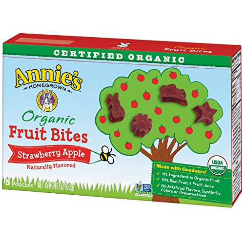 Annie's Homegrown Organic Fruit Bites - Orchard Strawberry Apple - 0.63 oz - 5 ct