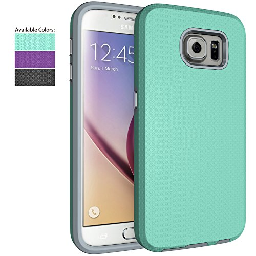 (Galaxy S6 Case,NiuBox Slim Fit Dual Layer [PC + TPU Hybrid] Gear Textured Anti-Slip Shock Absorption Protective Phone Case Cover for Samsung Galaxy S6)