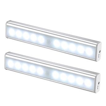 JESWELL USB Automatische LED Schrankbeleuchtung Wiederaufladbare Nachtlicht  Mit Bewegungsmelder, Magnetische, 10 LED Licht