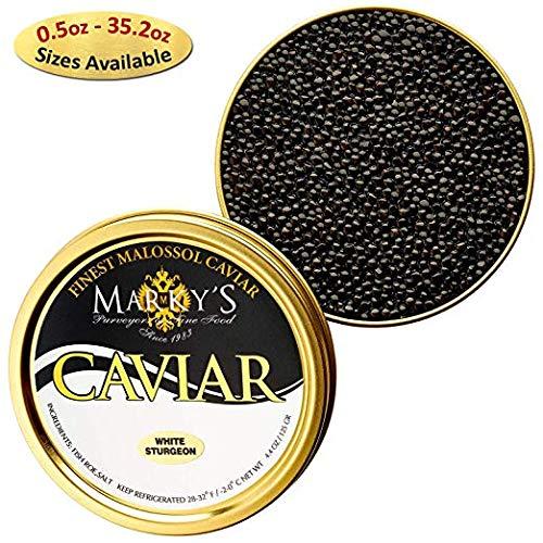 Marky's White Italian Sturgeon Premium Caviar - 1.75 oz - Malossol White Sturgeion Italian Black Roe - GUARANTEED OVERNIGHT (White Sturgeon Caviar)