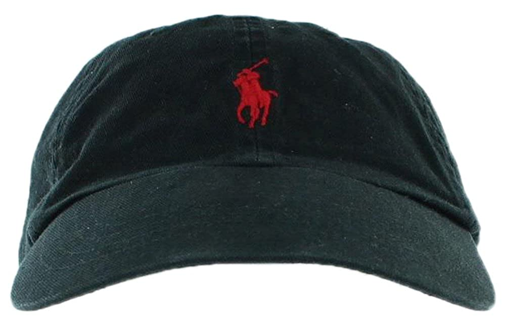 Amazon.com  Ralph Lauren Mens Pony Logo Hat Cap Black Red  Clothing 661efceca26