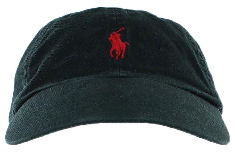 Amazon.com  Ralph Lauren Mens Pony Logo Hat Cap Black Red  Clothing ac7a28d27b3c
