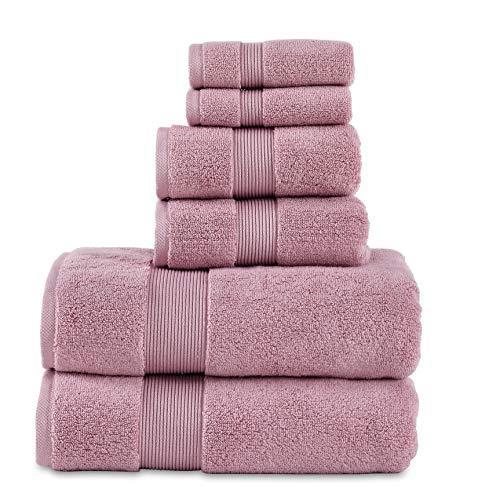 "700 GSM 6 Piece Towels Set, 100% Cotton, Zero Twist, Premium Hotel & Spa Quality, Highly Absorbent, 2 Bath Towels 30"" x 54"", 2 Hand Towel 26"" x 28"" and 2 Wash Cloth 12"" x 12"". Mauve Color ()"