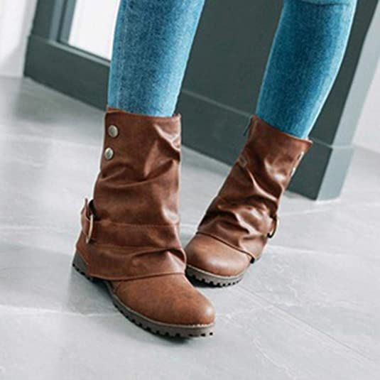 Amazon.com | ZX Boots Fashion Warm Short Leather Boots - Women Casual Buckle Artificial Leather Patchwork Shoes | Shoes
