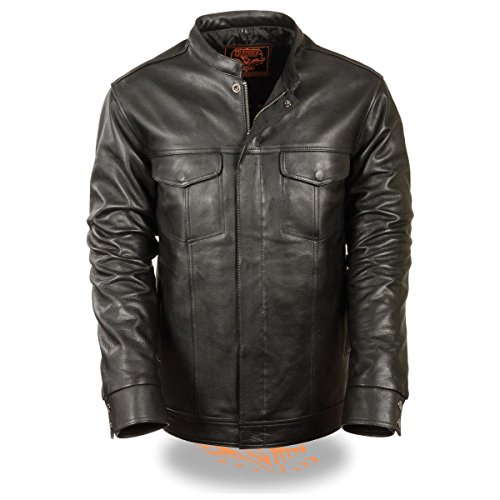 (Milwaukee Leather Mens Club Style Zipper/Snap Front Black Leather Shirt with Gu - Large)