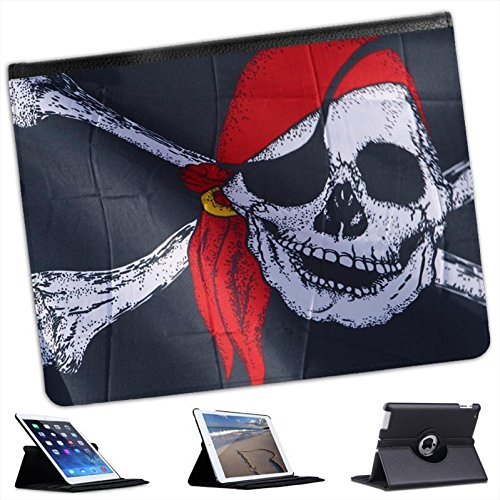 Pirate Flag Jolly Roger Red Bandana For Apple iPad 2, 3 & 4 Faux Leather Folio Presenter Case Cover Bag with Stand (Bandana Pirate Suede)