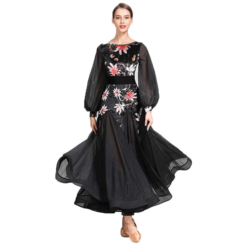 【70%OFF】 現代のダンス衣装女性のためのパフォーマンススカートレトロコートスリーブ標準のダンスの服社交ダンスの競争のドレスワルツスカート B07QHZLF64 S ブラック ブラック s S s, コサカマチ:f4826bdb --- a0267596.xsph.ru