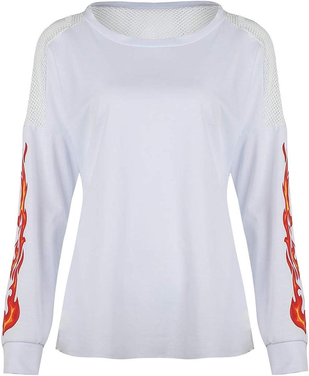 Chennie Camisa de Manga de Llama de Llama de Frisk de Tiro de Malla Sexy para Mujer Trabajo hogar Club Bar Deportes Casual: Amazon.es: Ropa y accesorios