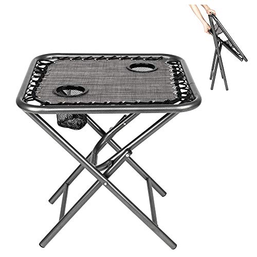 Bonnlo Outdoor Folding Sling Side Table with Mesh Cup Holders for Camping, Picnic, Patio, Garden, Backyard, Beach (Table Only) (Grey)