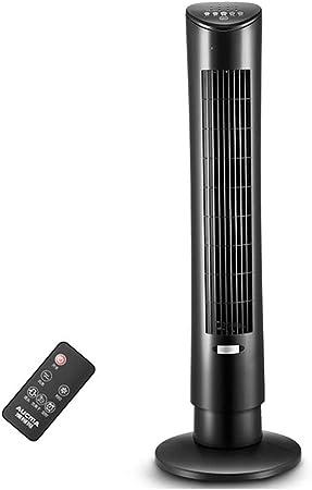 Opinión sobre FHDF Ventilador de Torre silencioso oscilante con Mando a Distancia, Portátil Bladeless aspas Tower Fans 3 velocidades 3 Modos 7.5H Temporizadorr para El Hogar Y La Oficina, H88cm (60W, Negro)