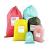 Set of 4pcs Drawstring Bags, WITERY Set of 4pcs Waterproof Drawstring Bag / Shoes Underwear Makeup Laundry Storage Pouch Bags Organizers Gym Bag / Luggage Bags Set for Travel / Home Storage