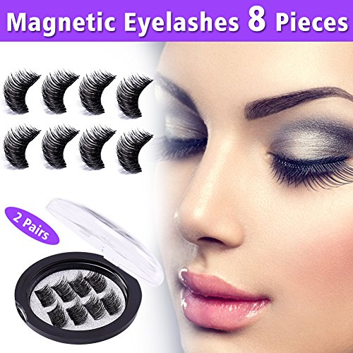 shes No Glue 3D Reusable Fake Eyelashes Extensions 8 Pieces Natural Mink Lashes Set with Single Magnets, Ideal for Deep & Round Eyes (Black, 2 Pairs) ()