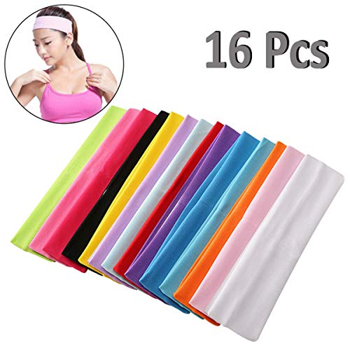 PartyYeah 16-Pack Unisex Stretch Elastic Yoga Cotton Headbands Sweatband for Teens and Adults, Non-Slip Sport Sweatband Headwear for Running, Yoga, Tennis, Volleyball, Basketball Fitness All Sports