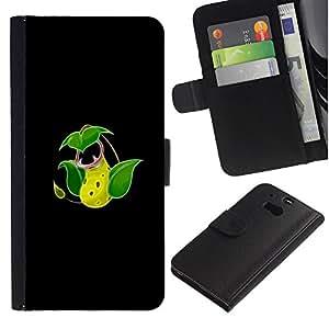 Protector de cuero de la PU de la cubierta del estilo de la carpeta del tirón BY RAYDREAMMM - HTC One M8 - Victreebel P0kemon