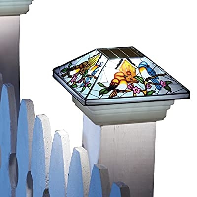 Solar Fence Stained Glass Effect Bird Post Light Cap
