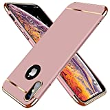 TORRAS Lock Series iPhone X Case, iPhone Xs Case, Thin 3 in 1 Hybrid Hard Plastic Matte Finish Slim Cover Anti-Scratch Phone Case for iPhone Xs/X 5.8', Rose Gold