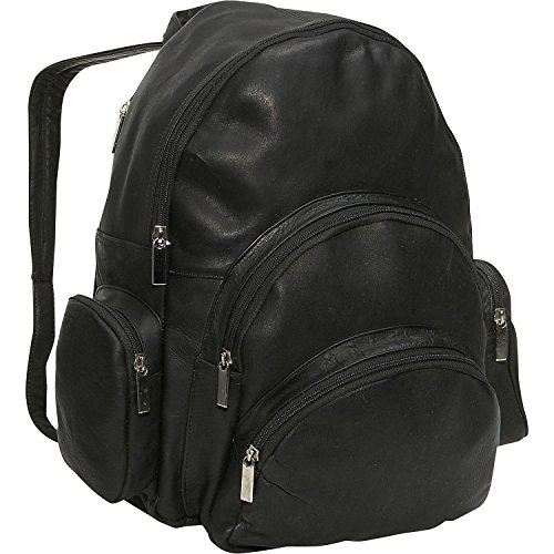 (David King Leather Expandable Backpack in Black)