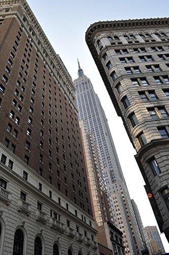 Quality Prints - Laminated 24x36 Vibrant Durable Photo Poster - New York City Bulding View Aerial Manhattan Big City New York City United States Bridge Urban View Empire ()