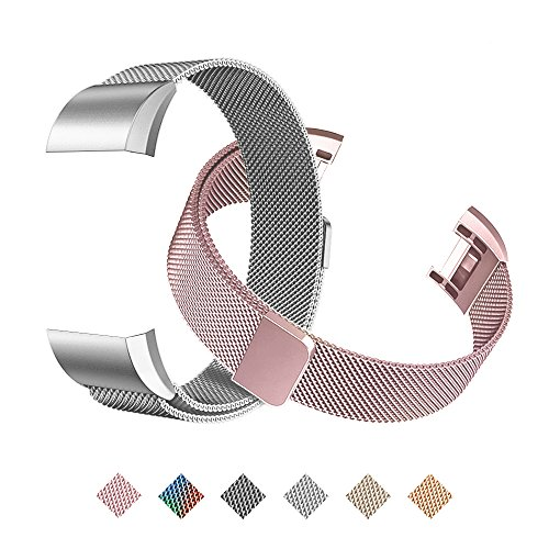 Tecson Magnetic Bands Compatible Fitbit Charge 2 (Pack of 2), Stainless Steel Metal Milanese Replacement Strap with Magnet Lock for Fitbit Charge 2, Rose Pink and Silver