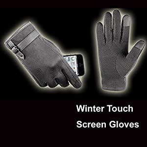 Touch Screen Leather Gloves, iKNOWTECH Premium Women's Suede Leather Warmer Cycling Texting Gloves for Apple iPhone 7Plus,7,6S Plus,6, Samsung Galaxy Phones and More (Gray)