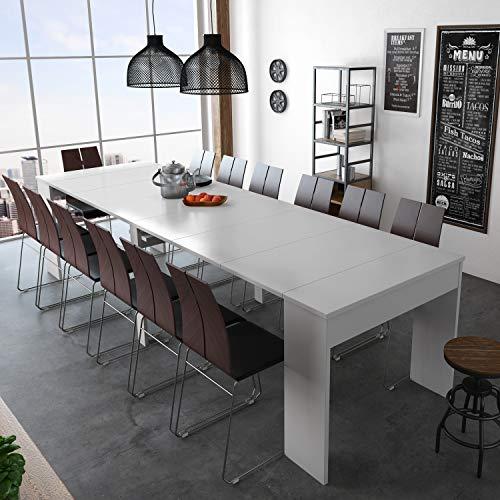 Mesa de Comedor Extensible, Consola Extensible, Mesa Multiposición, Acabado en Color Blanco Mate, Medidas: 90 cm (Ancho…