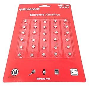 Polaroid Extreme AG1 364 363 164 LR60 LR621 SR621SW 1.5V Button Cell Alkaline Batteries Mercury Free 0% Hg (30-Pack) – 2025 Expiry Date