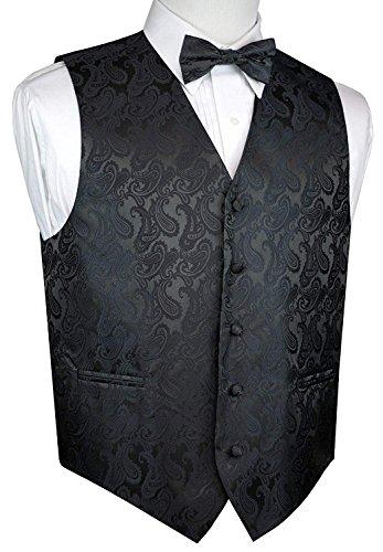 Men's Paisley Vest Bow-Tie Set-Charcoal XL