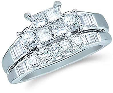 14k White Gold Diamond Ladies Womens Bridal Engagement Ring with Matching Wedding Band Two 2 Ring Set Invisible Solitaire Three 3 Stone Style Center Setting with Side Stones Channel Set with Five 5 Stone Princess , Round & Baguette Cut Diamond Ring 5mm (1.0 cttw)