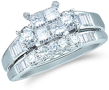 Size - 8 - 14k White Gold Diamond Ladies Womens Bridal Engagement Ring with Matching Wedding Band Two 2 Ring Set Invisible Solitaire Three 3 Stone Style Center Setting with Side Stones Channel Set with Five 5 Stone Princess , Round & Baguette Cut Diamond