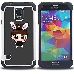 "Hypernova Híbrido Heavy Duty armadura cubierta silicona prueba golpes Funda caso resistente Para SAMSUNG Galaxy S5 V / i9600 / SM-G900 [Cute Girl oído del conejito""]"