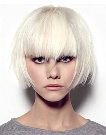 Amazon.com  Tsnomore Trendy Dapper Short Bob Wig Straight With Women  Kanekalon Bob Wig with Full Bang Cosplay Women Wig (White)  Beauty 4ced017ce399