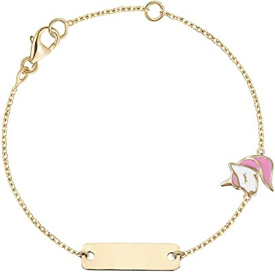 14K Yellow Gold Childs Heart ID Bracelet