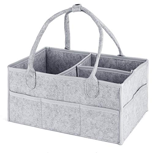 Diaper Caddy Organizer for Baby – Nursery Storage Bin for Changing Table and Toys – Large, Excellent for All Diaper Sizes, Wipes, Baby Travel – Newborn Registry Gifts – Gray