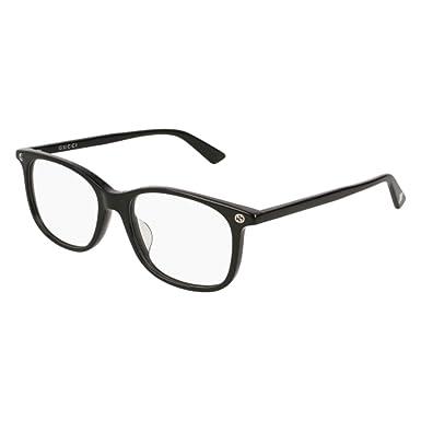 05bb4d6d6d4 Amazon.com  Gucci GG 0157O 001 Black Plastic Square Eyeglasses 52mm ...