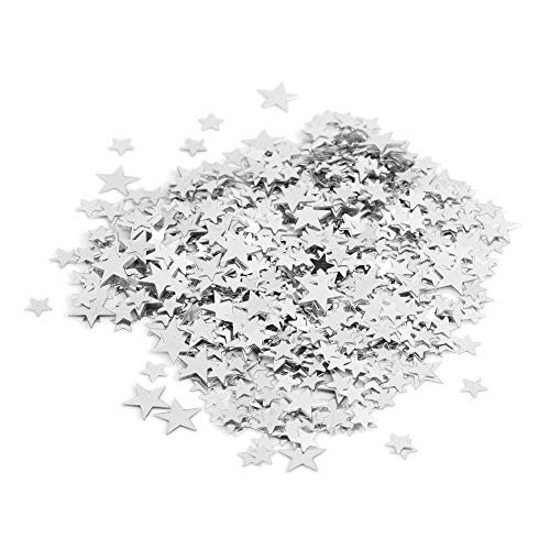 (Star Confetti Sparkling Wedding Birthday Party Loose Sequins Glitter Supplies Decoration Red Gold Silver Rose Gold 0.4 Inch(Silver))