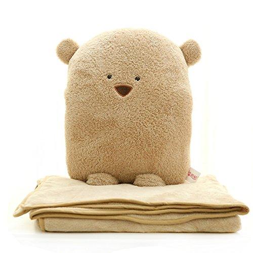 Dr.Luck 3 in 1 Bear Travel Blanket & Hand Warm & Pillow Set Adults Kids Throw Pillow Cushion - Blanket Bear Travel