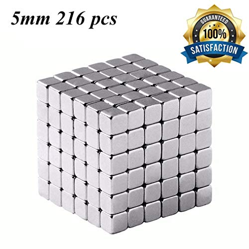 Brain Teaser,5MM 216-Pieces Square Cube Toy,DIY Magic Sculpture Building Blocks Toy for Children Intelligence Learning & Office Toy for Stress Relief,Best Christmas Gift for Kids or Adults,Silver 19 ()