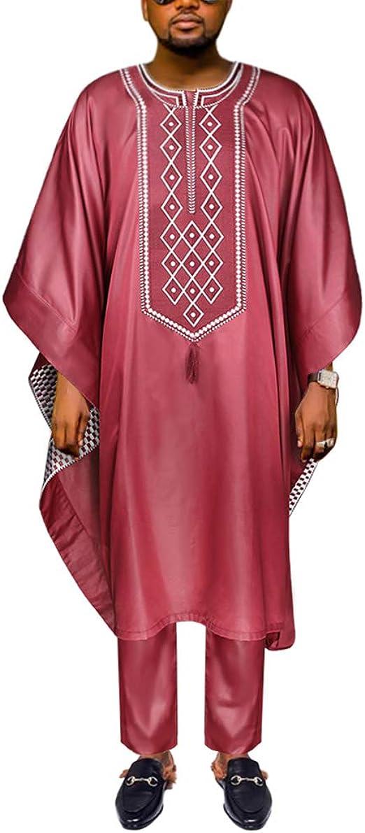 HD African Vestidos Rojo Dashiki Ropa Set Bordado Agbada Outfit para Hombre Manga Corta Top y Pantalones Largos - Rojo - XXX-Large: Amazon.es: Ropa y accesorios