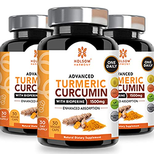Turmeric Curcumin with Bioperine 1650mg Advanced Formula ONE Daily, Joint Pain Relief & Anti Inflammatory Supplement with Black Pepper for Best Absorption.Non-GMO,Natural,Made in USA,90 - Capsules 90 Daily