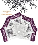 FishMM 6 Packs Halloween Stretch Spider Webs with 50 Fake Spiders for Indoor & Outdoor Spooky Webbing Halloween Decorations