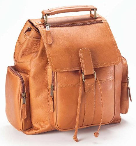 Clava Urban Survival Leather Laptop Backpack, Computer Bag in Tan