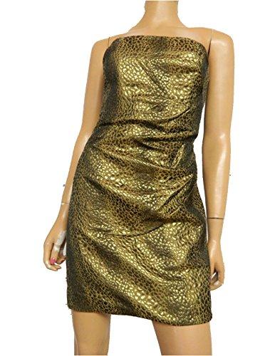 - Nicole Miller Leopard Jacquard Gold Strapless Dress