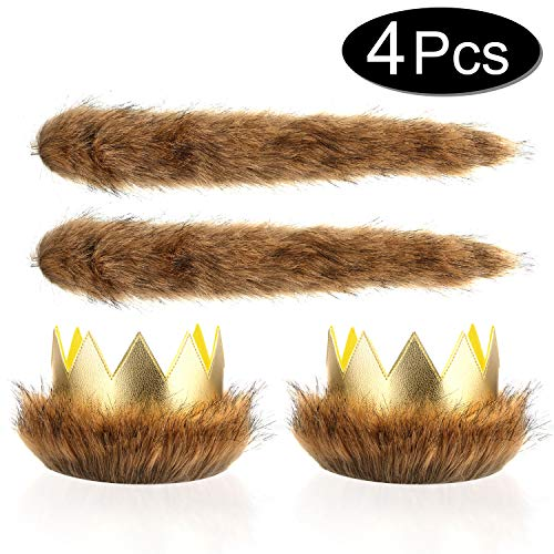 Max King Of The Wild Things (Where The Wild Things are Max Costume Party Supplies Wild One Crown Tail, Dress Up Party Cake Smash Things King of the Jungle,Halloween Headbands)