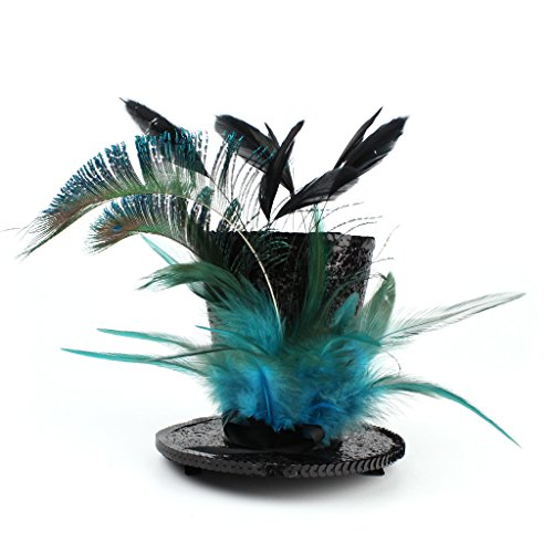 - Mini Top Hat Green Feather Fascinator Cocktail