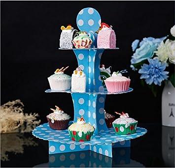 alzatina Alzata in Cartone Porta Cupcake tortine Muffin pasticcini Dolci per Festa Matrimonio Compleanno Battesimo Laurea Comunione Nascita Natale JZK/® 3 Piani Viola