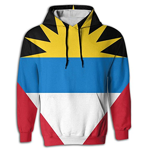 Antigua Pullover Fleece - Men's Antigua and Barbuda Fashion Pullover Fleece Hooded Sweatshirt Long Sleeve Casual Slim Fit Hoodies Sweatshirt