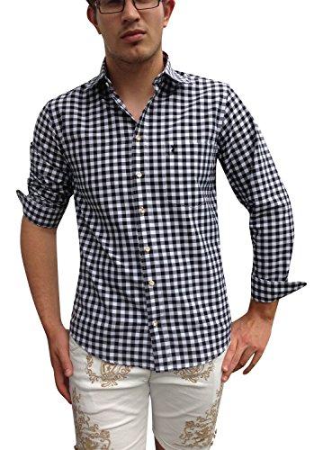 Herren Hemden Shirt Freizeithemden Business Hochzeit Schwarz-Weiß Karo Baumwolle